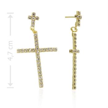 Brinco crucifixo duplo folheado a ouro com strass