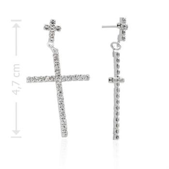 Brinco crucifixo duplo folheado a prata com strass