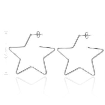 Brinco de argola folheado a prata em forma de estrela
