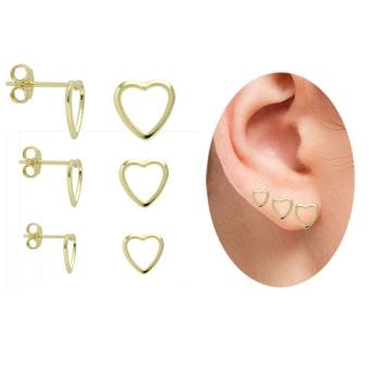 Kit com 3 pares de brincos folheados a ouro em forma de coração