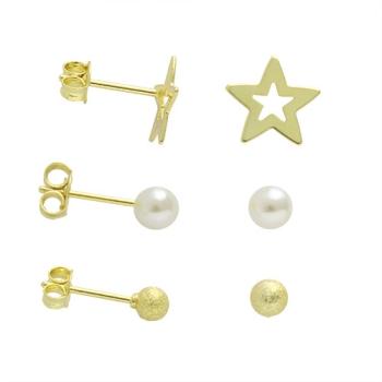 Kit com 3 pares de brincos folheados a ouro com estrela, pérola e bolinha