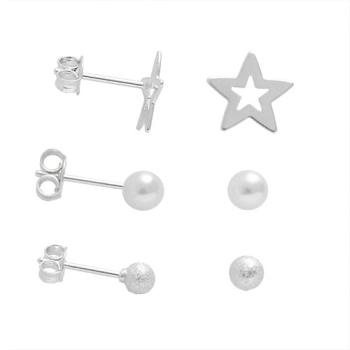 Kit com 3 pares de brincos folheados a prata com estrela, pérola e bolinha
