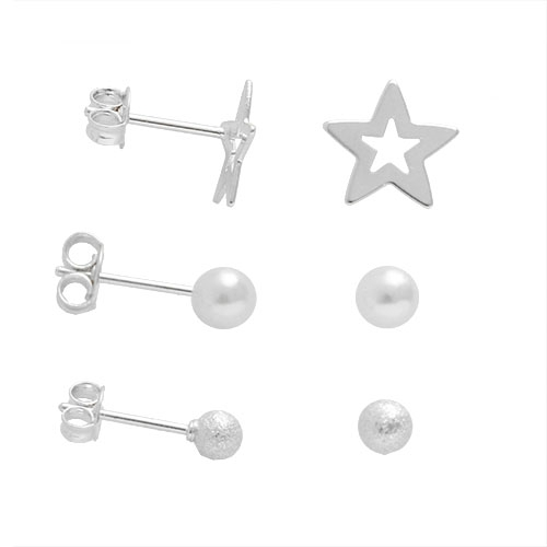 Foto 1 do Produto Kit com 3 pares de brincos folheados a prata com estrela, pérola e bolinha