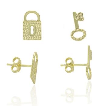 Brinco folheado a ouro em forma de chave e cadeado