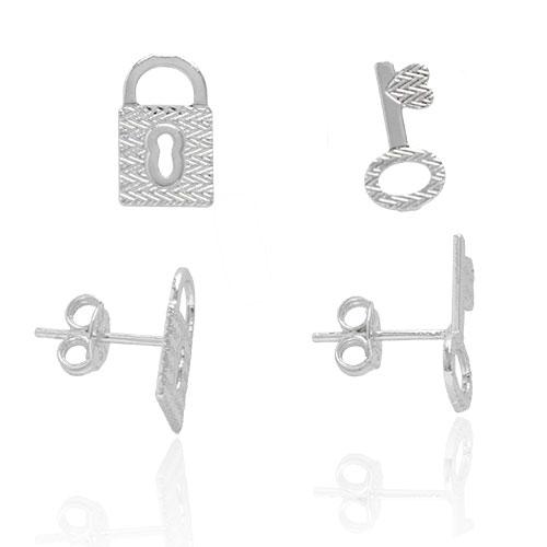 Foto 1 do Produto Brinco folheado a prata em forma de chave e cadeado