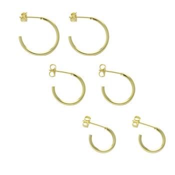 Kit com 3 pares de brincos de argola folheados a ouro com tamanhos diferentes