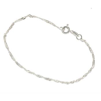 Pulseira Singapura torcida folheada a prata com 18 cm