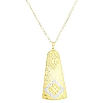 Gargantilha folheada a ouro e pingente em forma de sino c/ aplique de prata