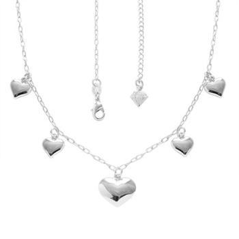 Gargantilha Cinco Corações folheada a prata