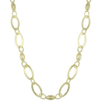 Gargantilha larga folheada a ouro c/ adereços de chapa e acabamento fosco (70 cm)
