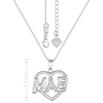 Gargantilha folheado a prata e pingente Mãe em forma de coração