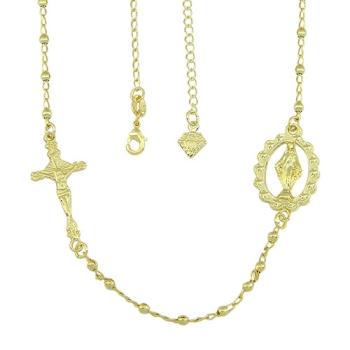Gargantilha folheada a ouro com medalha de N. Sra. das Graças e crucifixo