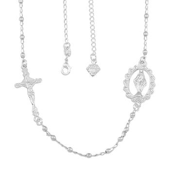 Gargantilha folheada a prata com medalha de N. Sra. das Graças e crucifixo