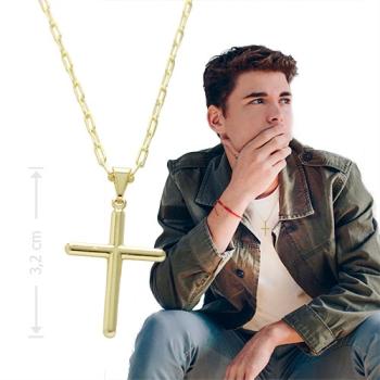 Gargantilha masculina folheada a ouro com crucifixo liso