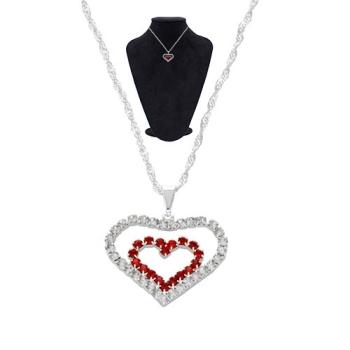 Gargantilha folheada a prata e pingente coração duplo de strass