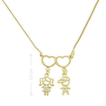 Gargantilha 2 filhos(as) folheada a ouro com zircônias