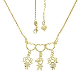 Gargantilha 3 filhos(as) folheada a ouro com zircônias