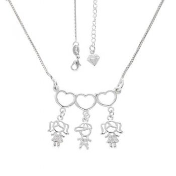 Gargantilha 3 filhos(as) folheada a prata com zircônias