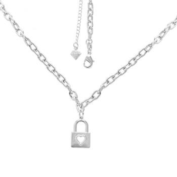 Gargantilha folheada a prata e pingente em forma de cadeado com coração