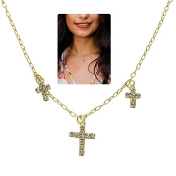 Gargantilha choker folheada a ouro com 3 crucifixos em strass
