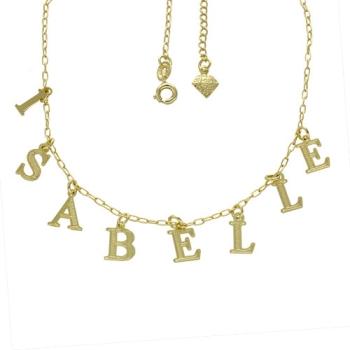 Gargantilha folheada a ouro com nome personalizado - 8 a 10 letras