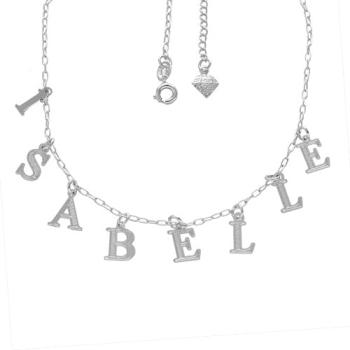 Gargantilha folheada a prata com nome personalizado - 8 a 10 letras