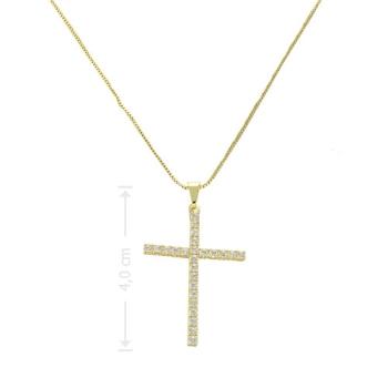 Gargantilha folheada a ouro com crucifixo de zircônia