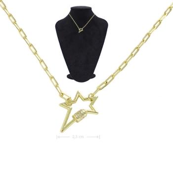 Gargantilha folheada a ouro com fecho fake em forma de estrela