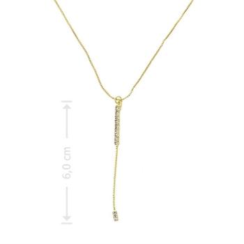 Gargantilha tipo gravata folheada a ouro com pedras de strass
