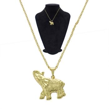 Gargantilha folheada a ouro com pingente em forma de elefante