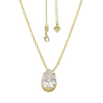 Gargantilha folheada a ouro com zincônia em forma de gota na cor cristal