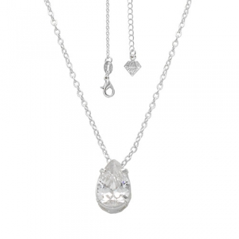 Gargantilha folheada a prata com zincônia em forma de gota na cor cristal