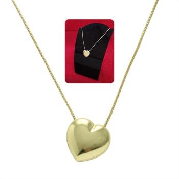 Gargantilha folheada a ouro e pingente em forma de coração abaulado G