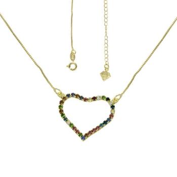 Gargantilha folheada a ouro e pingente em forma de coração com strass multicolorido