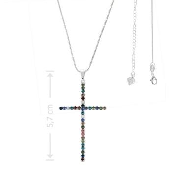Gargantilha folheada a prata com crucifixo de strass multicolorido