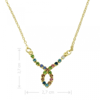 Gargantilha folheada a ouro com adereço de strass multicolorido em forma de gota