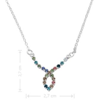Gargantilha folheada a prata com adereço de strass multicolorido em forma de gota