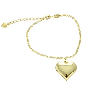 Pulseira folheada a ouro com pingente grande de coração