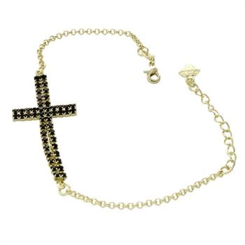 Pulseira folheada a ouro com cruz feita de strass