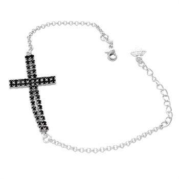 Pulseira folheada a prata com cruz feita de strass