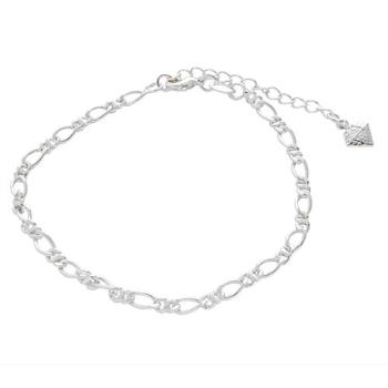 Pulseira feminina folheada a prata com elos 1 x 1