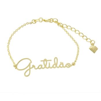 Pulseira Gratidão folheada a ouro