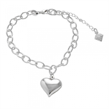 Pulseira folheada a prata e pingente em forma de coração