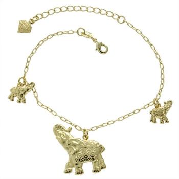 Pulseira folheada a ouro com pingentes em forma de elefante