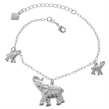 Pulseira folheada a prata com pingentes em forma de elefante