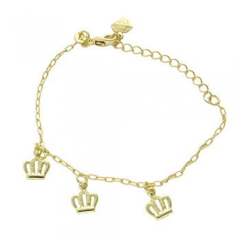 Pulseira folheada a ouro com pingentes em forma de coroa