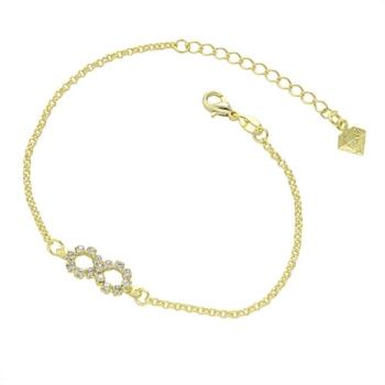 Pulseira folheada a ouro com adereço em forma do símbolo do infinito em strass
