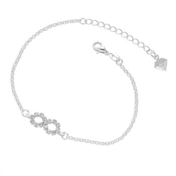 Pulseira folheada a prata com adereço em forma do símbolo do infinito em strass