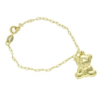 Pulseira infantil folheada a ouro com pingente em forma de urso