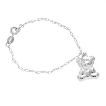 Pulseira infantil folheada a prata com pingente em forma de urso
